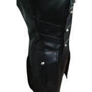 Black-WOMEN-SHEEP-Leather-Goth-Matrix-Trench-Coat-Steampunk-Military-Jacket-T22-5