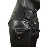 Black-WOMEN-SHEEP-Leather-Goth-Matrix-Trench-Coat-Steampunk-Military-Jacket-T22-6
