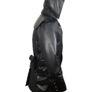 Mens-Real-Black-Leather-Matrix-Goth-Trench-Coat-Gothic-T23-2