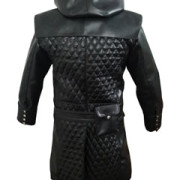 Mens-Real-Black-Leather-Matrix-Goth-Trench-Coat-Gothic-T23-5