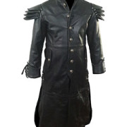 Mens-REAL-Black-Leather-Goth-Matrix-Trench-Coat-Steampunk-Gothic-T24-1