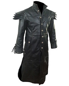Mens-REAL-Black-Leather-Goth-Matrix-Trench-Coat-Steampunk-Gothic-T24-2