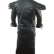 Mens-REAL-Black-Leather-Goth-Matrix-Trench-Coat-Steampunk-Gothic-T24-4