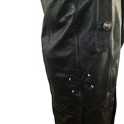 Mens-REAL-Black-Leather-Goth-Matrix-Trench-Coat-Steampunk-Gothic-T24-5