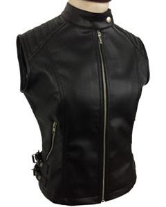 Sexy-Womens-Ladies-Real-BLACK-SHEEP-LAMB-Leather-Bikers-Waistcoat-Vest-W12-1