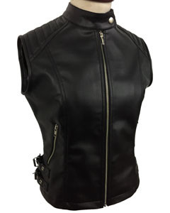 Sexy-Womens-Ladies-Real-BLACK-SHEEP-LAMB-Leather-Bikers-Waistcoat-Vest-W12-2