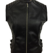 Sexy-Womens-Ladies-Real-BLACK-SHEEP-LAMB-Leather-Bikers-Waistcoat-Vest-W12-3