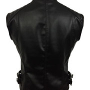 Sexy-Womens-Ladies-Real-BLACK-SHEEP-LAMB-Leather-Bikers-Waistcoat-Vest-W12-5