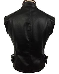Sexy-Womens-Ladies-Real-BLACK-SHEEP-LAMB-Leather-Bikers-Waistcoat-Vest-W12-5